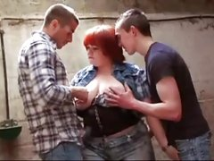 FRENCH CASTING n68 redhead anal bbw babe in threesome