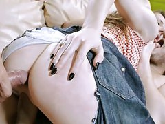 Pretty Brunette Gangbang Ripped Jeans