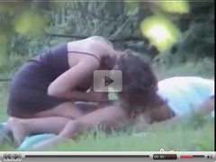 Caught fucking in park - amateur couple