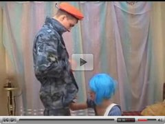Crossdresser In Bright Wig Pleasing Hot Soldier