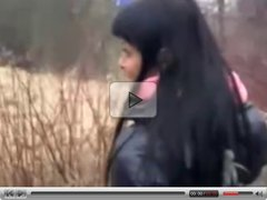 Cute teen Laetitia blow outdoor