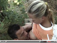 a blond girl gets fucked outdoors