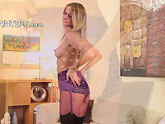 Sweet little teenie in purple lingerie