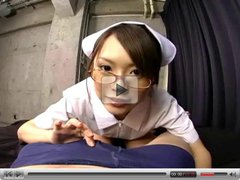 Busty Japanese nurse gives a hot blowjob and hanjob in POV