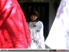 Horny Japanese teen in kimono sucking cocks