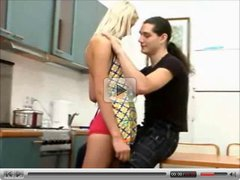 Blond teen fucking in the kitchen