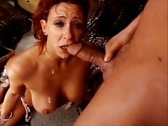 Red head nice tits milf gets face fucked good