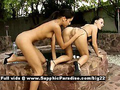 Aletta and Anitta from sapphic erotica brunette lesbians licking pussy and fingering