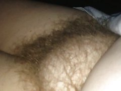 revealing her soft hairy pussy early in the morning