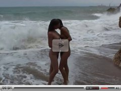 Threesome on beach