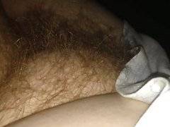 combing her soft hairy pussy with me fingers