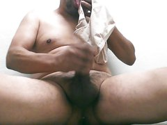 sniffing and tasting my wifes used panty