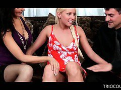 Blonde teen joining mature couple in 3some gives blowjob