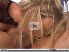 Blonde chick gets a cock rammed down her throat