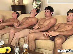 Super hot studs in gay foursome porn part1