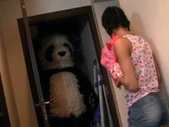 Young girl sucks a huge black dick toy panda