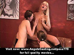 Lesbian threesome sex orgy with hot girls toying and licking pussy
