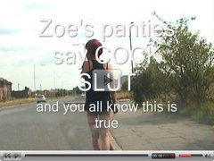 Zoe on the streets showing her COCK SLUT panties - and more