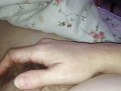 wife rubbing her own  hairy & nipple