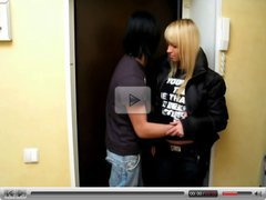 Blond with big breasts fucked in the restroom