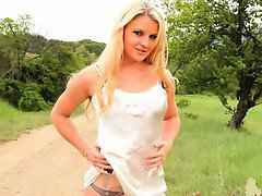 outdoor stripping with woman in nylons