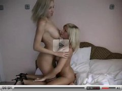 Blonde Lesbian Couple Make Each Other Cum