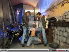 Two big cock biker fucks slut anally