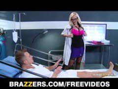 Dirty blonde Doctor Alena Croft helps her patient feel better