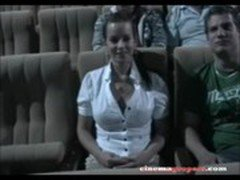This hot young wife is at the cinema with her husband and a friend 2 PARTS