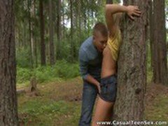 Casual Teen Sex - Hitchhiker fucked in the woods