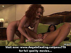 Amateur brunette and redhead lesbians fingering and pussy licked in bed