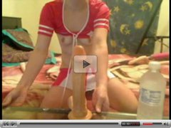 Teen Cheerleader Deepthroating and Gagging on a Dildo