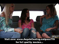 Three superb stunning lesbian girls talking and touching in car