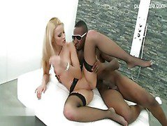 Sexy blonde with not her first black cock