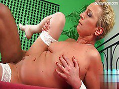 Hot blonde cougar gets cummed on