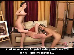 Three beautifull stunning lesbian girls with natural tits fingering