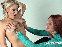 Lesbo curvy blonde gets hot tits oil massaged