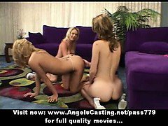 Three superb sexy blonde lesbian girls undressing and touching