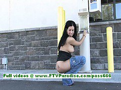 Tatiana naughty brunette woman public flashing tits and ass