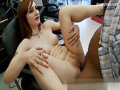 Redhead hottie gets a black jizz facial