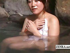 Subtitled Japanese cougar POV handjob at bathhouse