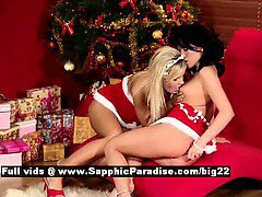 Cameron and Jess sexy lesbo girl sex near Christmas tree