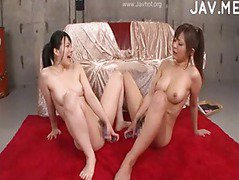 Lesbian hotties with double ended dildo