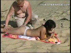 brunette teen fucked at beach