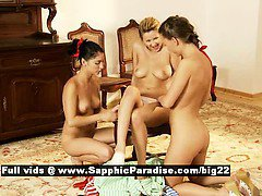 Fiva and Mya and Zoe lovely lesbos licking and fingering threesome orgy