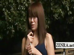 Subtitles ENF Japan schoolgirl reporter swimsuit strip