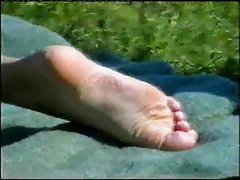 Girls feet in public places
