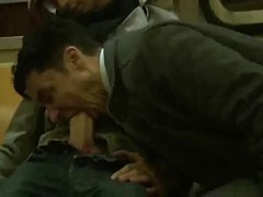 sucking huge cock on the train