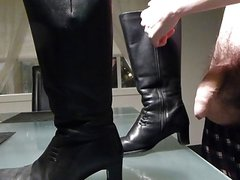 Cum in wifes black leather boots