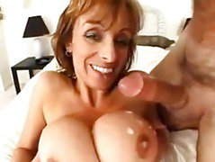 Cougar loves jizz on her tits